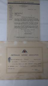 Certificate & letter - Bogong State School prizes, Australian Natives' Association and Australian-American Association