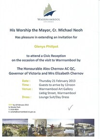 Document, Invitation to Reception for Governor visit 2013, 2013