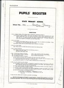 Papers, Streatham State Primary School Pupil's Register
