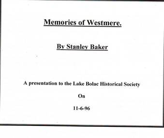 Papers, Westmere Memeries of Stanley Baker