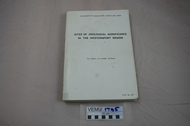 Book, Sites of Zoological Significance in the Westernport Region, 1984