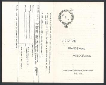 Ephemera, Victorian Transexual Association [brochure], 1976