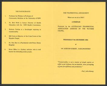 Ephemera, The Transsexual and society : Where are we at in 1981? : a seminar, 1981