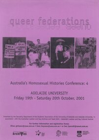 Poster, Queer federations : Australia's Homosexual Histories Conference 4, Adelaide University, 19-20 October 2001, 2001