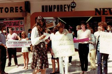 Photograph, Roberta Perkins speaking at the Australian Transsexual Association (ATA) and Gay Solidarity protest, Manly, Sydney, October 1982
