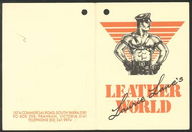 Ephemera, Laurie Lane's Leather World [tag], c.1985-1989