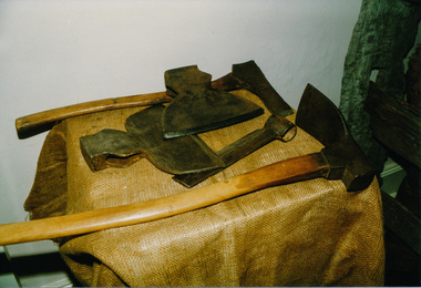 Photograph, Axes used in cutting post and rail fences, Heritage Week, 1990