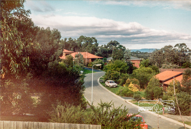 Photograph, Stokes Place, Eltham, June1986; looking southeast from linear park reserve near no. 10, 1980