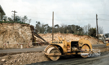 Photograph, Fred Mitchell, Reconstruction of the corner of Bridge Street and Main Road, Eltham, during duplication works, 1968