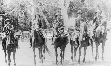 Photograph, Diamond Creek Mounted Scouts; Scoutmaster McWiggan second from right with his brother first on right, 1920s