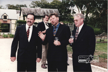 Photograph, In front of the Barn at the launch of the Kinloch Gardens development, 93 Arthur Street, Eltham, April 1998, Cr. John Graves at rear, April 1998
