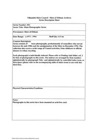 Document - Series Listing, Fraser Faithfull et al, Series 01: Main Photographic Series, 2000