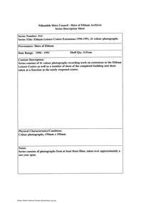 Document - Series Listing, Fraser Faithfull et al, Series 14: Eltham Leisure Centre Extensions 1990-1991, 41 colour photographs, 2000