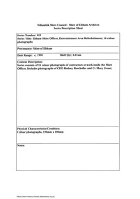 Document - Series Listing, Fraser Faithfull et al, Series 19: Eltham Shire Offices, Entertainment Area Refurbishment, 16 colour photographs, 2000
