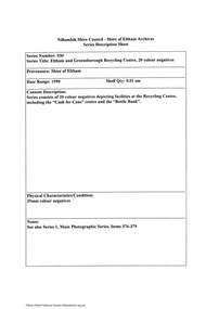 Document - Series Listing, Fraser Faithfull et al, Series 30: Eltham and Greensborough Recycling Centre, 20 colour negatives, 2000