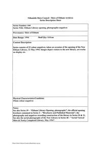 Document - Series Listing, Fraser Faithfull et al, Series 40: Eltham Library opening, photographic negatives, 2000