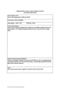 Document - Series Listing, Fraser Faithfull et al, Series 44: Registration of Brewers Book, 2000