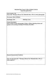 Document - Series Listing, Fraser Faithfull et al, Series 46: Meeting to Discuss New Nillumbik Shire, 1994, 16 colour photographs, 2000