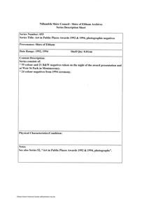 Document - Series Listing, Fraser Faithfull et al, Series 55: Art in Public Places Awards 1992 & 1994, photographic negatives, 2000