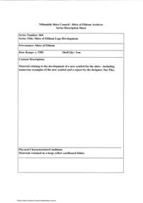Document - Series Listing, Fraser Faithfull et al, Series 66: Shire of Eltham Logo Development, 2000