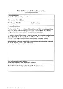 Document - Series Listing, Fraser Faithfull et al, Series 67: Historical Register Volumes, 2000