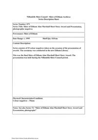 Document - Series Listing, Fraser Faithfull et al, Series 73: Shire of Eltham Alan Marshall Short Story Award and Presentation, photographic negatives, 2000