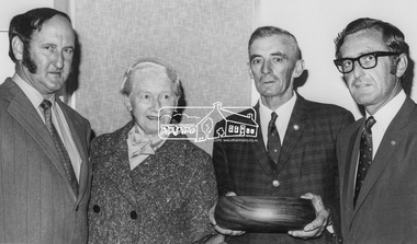 Photograph, Shire of Eltham, Fire Prevention Week Winners Mrs. Toogood and Mr. MacMillan, 1971