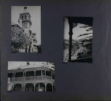 3 photos on page - 2 views of mansion from the garden and 1 view of the garden from a balcony
