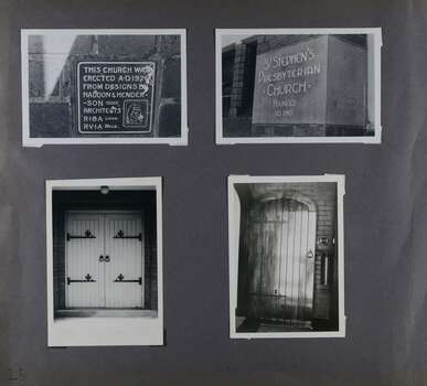 4 photos on page - 2 showing signs around the outside of the old church and 2 showing heavy wooden doors