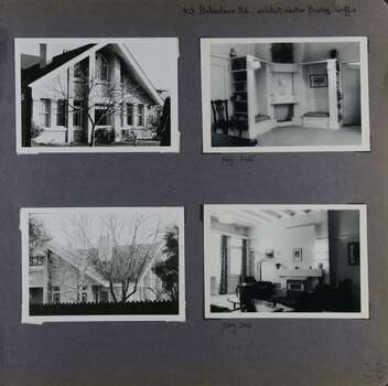 4 photos on page - 2 views of a large 2 storey house in its garden;  and 2 inside showing the area around a fire place in one and another room with a fire place in the other