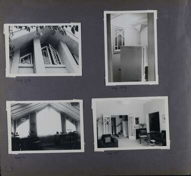 4 photos on page - one is of a large decorated window ajar on the upper level;  one is inside of a small decorated window near a room corner;  an inside view of a large triangular window;  and a wide view of a furnished room including sofa and chairs, looking towards stairs through the open glass decorated doors