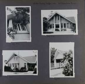 4 photos on page - 3 different outside views showing a close up of one window and 2 different sides of the house with lots of windows;  and one photo of a carport over a lattice garden fence.