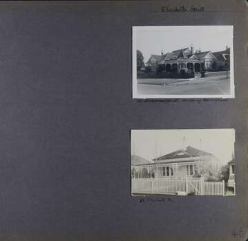 Two photos on page - one is a large old corner house with lots of gables and chimneys;  one is an old house with a verandah and fenced garden