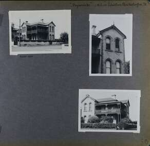 3 photos on page - 3 views of an old double storey mansion with verandahs and balconies