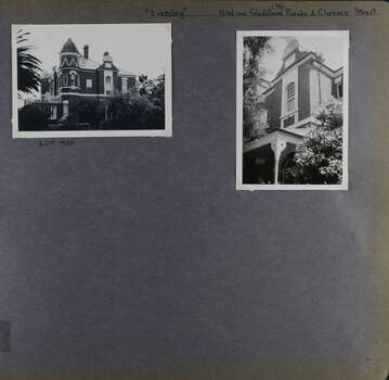 Two photos on page - one view of the corner and 2 sides of an old 2-storey mansion and one view of an upper level from the garden