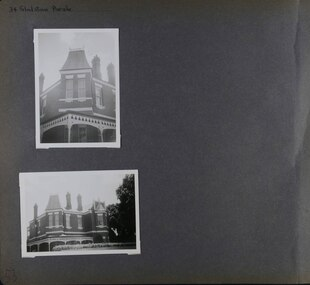 2 photos on page - one is a view of mostly the upper level of an old mansion and the other is a closeup of the corner of this upper level.