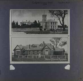 1 photo on page - photo of 2 photos with the first one showing a very big old building with a tower and cows in the foreground and the other photo showing a different large building with attics.