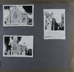 3 photos on page - 2 similar views of the front of an old church building and the 3rd one showing down the right side of the building.