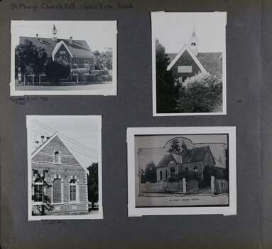 4 photos on page - one view of this old large building in its garden, one close-up view of the front roof and its small bell tower, one view of the side wall and one photo of a photo of the same large building but with shorter trees and different fence.