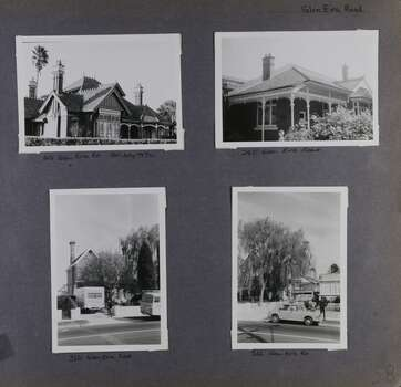 4 photos on page - 3 old houses in their gardens and 2 of the photos include vehicles