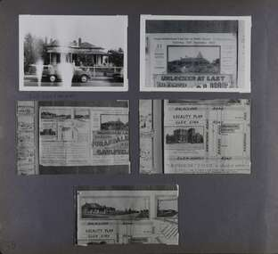 5 photos on page - 1 is of a house with a verandah and a car out the front, the other 4 are partial views of a real estate ad with maps and photos.