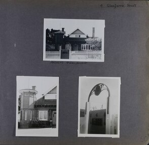 3 photos on page - one view of old house with tower, attic and fence in its garden, one close-up of the tower and one close-up of a decorative arch over the gate in the fence.