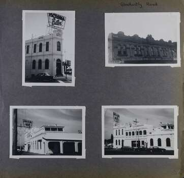 4 photos on page - front, back and side views of a very large two storey hotel building including big sign and one view of the upper level for 5 similar double-storey shops.