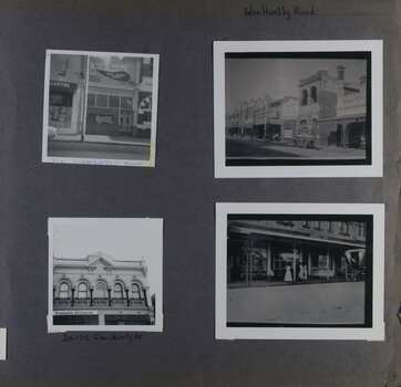 4 photos on page - 1 view of a couple of old-style shops at ground level, 1 view of the upper level for a couple of old-style double-storey shops, 1 photo of a photo of a retail strip of old-style double-storey shops with an early model car and 1 photo of a photo of old-style retail strip at ground level with a rear view of a carriage and a couple of people in long dresses.