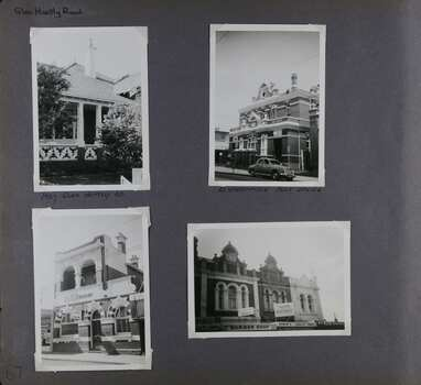 4 photos of brick buildings - entrance area of a house, large official 2-storey building with a car out the front, smaller official-looking building of 2 storeys and the upper level of 3 x 2-storey shops