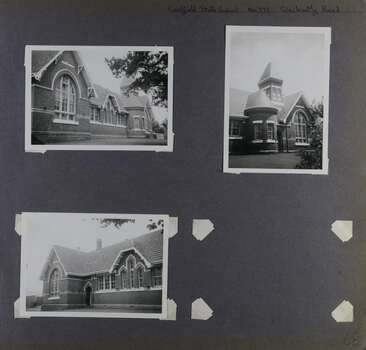 3 photos of a substantial brick building including arched windows and a tower - 1 full view of this side along with 2 closer views of each end