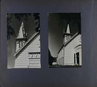 2 photos of different angles of the decorated spire, front and side of an old wooden church