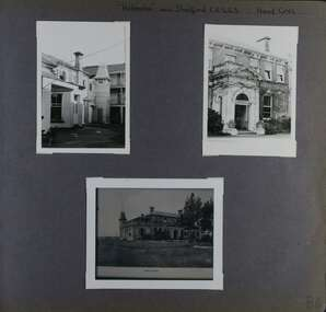 3 photos - different views of a big old mansion with a tower;  one is a longer view from grounds.