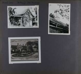 3 photos - one is of the back of an old house with stacks of desks and chairs, one is of a chimney on its roof and one is a photo of a photo of the front a large home with formal driveway and garden centrepiece.