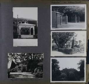 5 photos - 2 views of the highly decorated formal entrance to a substantial brick mansion, one view of the cast iron gates and fence at the garden entrance, 2 wider views of the mansion from its gardens.